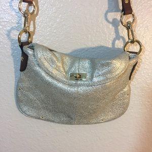 J.Crew Women's Silver Textured Crossbody  Bag